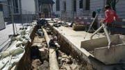 Hier fanden die Archäologen Mauerteile aus dem 13. und 14. Jahrhundert. (Bild: Facebook/Stadt Luzern)