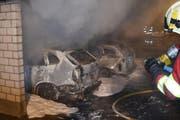 Nebst den beiden Autos, die In Vollbrand standen, wurde noch ein weiteres Auto beschädigt. (Bild: Luzerner Polizei)