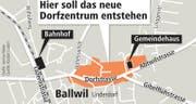 Übersicht vom neuen Dorfzentrum in Ballwil. (Bild: Grafik: Janina Noser / Neue LZ)