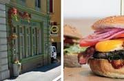 Das «Hopfenkranz»-Lokal an der Zürichstrasse in Luzern (links) schliesst. In der Altstadt öffnet ein Burger-Restaurant. (Bilder Google Maps / Facebook / Jeff's Burger)