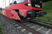 Der havarierte Triebwagen der BLS-Komposition. (Bild: pd)