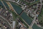 Die Bauarbeiten in der St. Karlistrasse im Abschnitt zwischen dem Nölliturm (unten rechts im Bild) und der St. Karlibrücke starten demnächst. (Bild: Google Maps)