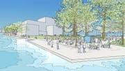 Das Musiktheater Salle Modulable soll auf dem Inseli gebaut werden. (Bild: Visualisierung PD)