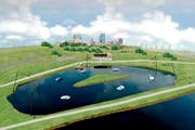 Ein Beispiel eines Wasserskilifts in einem künstlichen See, typisch sind die fünf Masten des Lifts. (Bild: PD)