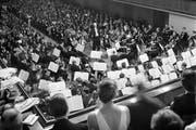 Das Lucerne Festival feiert sein 75-jähriges Jubiläum. Im Bild: Der deutsche Dirigent Wilhelm Furtwängler während eines Konzerts am 23. August 1944. (Bild: Keystone)