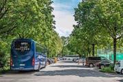 Beim Parkplatz Brüelmoos direkt neben dem Tennisclub Lido parkieren Cars auf Autoparkplätzen. (Bild: Boris Bügrisser / Neue LZ)