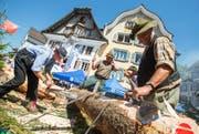 Der Umzug wird auf Tele 1 übertragen. Auf dem Bild ist der Waldwirtschaftsverband Obwalden am letztjährigen Zentralschweizer Jodlerfest in Sarnen zu sehen. (Bild Philipp Schmidli)