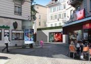 Soll laut den Initianten hell und einladend werden: Zugang zum Parkhaus Musegg beim Falkenplatz zwischen Café Heini und Bezirksgericht. (Bild: Visualisierung PD)