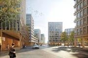 In der äusseren Lorzenallmend soll ein neues Quartier mit zahlreichen Hochhäusern, einer durchgehenden Chollerstrasse und einem Park entstehen. Rund 5000 Leute werden hier dereinst arbeiten. Ausserdem entsteht Wohnraum für 3000 Personen. (Bild: Visualisierung PD)