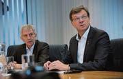 Präsident Heini Sommer (links) und Geschäftsführer Christoph Bugnon. (Bild: Urs Hanhart (Altdorf, 1. Februar 2018))