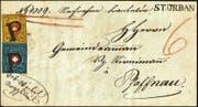In St. Urban aufgegeben, in Pfaffnau in Empfang genommen: Dieser Brief vom 26. Juni 1851 wird morgen Freitag versteigert (Bild: PD)