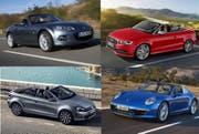 Von eher günstig bis teuer, Beispiele neuer Cabrios: Mazda MX5 (oben links, ab Fr. 29 900), VW Golf Karmann (unten links, ab Fr. 32 200), Audi S3 (oben rechts, ab Fr. 66 750), und Porsche 911 Targa (unten rechts, ab Fr. 166 500). (Bilder PD)