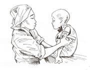 Eine Krankenpflegerin untersucht im Kinderspital Magaria einen kleinen Jungen. (Bild: Illustration: Sandro Hagen)