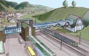 So könnte Biopolis (Bahnhof-Passarelle) dereinst aussehen. (Ideenskizze pd)