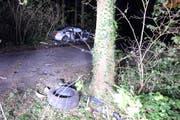 Der Unfallwagen musste mit einem Kran geborgen werden. (Bild: PD / Luzerner Polizei)