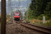 Ab dieser Stelle am Rotsee – auf der Höhe des Fährhauses – führt nur noch ein Gleis nach Luzern; sowohl die S-Bahn ins Rontal als auch die Schnellzüge in Richtung Gotthard und Zürich müssen es passieren. (Bild: Roger Grütter)