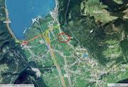 Auf der Flüelerstrasse Höhe Moosbad (roter Kreis) ereignete sich der Auffahrunfall. (Karte mapsearch.ch)