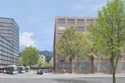 Der neue Bahnhofplatz in Horw ab Mitte 2022. (Bild: Visualisierung Lengacher und Emmenegger Architekten AG)