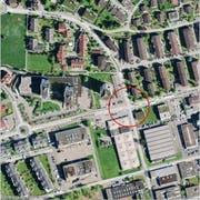 Die Kreuzung Grossmatte (rot eingekreist) soll zu einem Kreisel umgebaut werden. (Bild: map.search.ch)