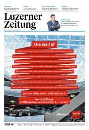 Zum Verwechseln ähnlich: So inserierte die Mall of Switzerland am 8. November in unserer Zeitung. (Bild: Screenshot jvf)