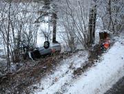 In Roggliswil hat sich eine Autofahrerin bei einem Selbstunfall leicht verletzt. (Bild: Luzerner Polizei)