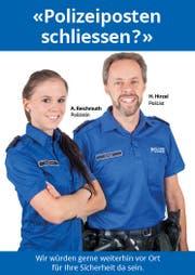 «Dieses Bild suggeriert, dass sich die Polizei des Kantons Zug gegen die Sparmassnahmen stellt», so Landammann Heinz Tännler. (Bild: Screenshot Werbeplakat / «Allianz für ein lebenswertes Zug»)