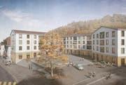 So soll das neue Dorfzentrum in Entlebuch dereinst aussehen. (Bild: Visualisierung nightnurse images GmbH)