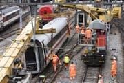 Die Unfallstelle im Bahnhof Basel SBB. Hier ist der Zug entgleist. (Bild: Keystone)