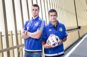 Die beiden neuen Spieler des FC Luzern, fotografiert in der Swissporarena: Tomi Juric (links) und Ricardo Costa. (Bild Manuela Jans-Koch)