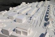Das Modell gibt einen ersten Eindruck über das neue Quartier. Hier sollen 220 neue Wohnungen entstehen. (Bild: pd)