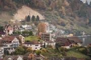 Die Schutzbaustelle oberhalb von Weggis. Die betroffenen Grundeigentümer müssen über 900'000 Franken an die Schutzprojekte zahlen. (Bild: Boris Bürgisser)