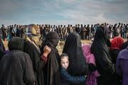 Das Bild aus der irakischen Stadt Mossul zeigt Zivilisten, die für die Verteilung von Hilfsgütern anstehen. (Bild: Ivor Prickett/EPA (Mossul, 15. März 2017))
