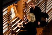 Beim sogenannten Tastentag stand die Orgel im KKL Luzern im Zentrum. Elisabeth Zawadke ist eine der Musikerinnen, die die Orgel erklingen liessen. (Bild: Peter Fischli / Lucerne Festival)