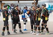 Die Oberwil Rebells in einem Spiel gegen den SHC Grenchen-Limpachtal. (Bild Roger Zbinden)