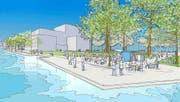 Die Salle Modulable soll auf dem Inseli gebaut werden. (Bild: Visualisierung PD)