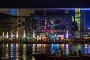 Lichtspektakel an der Fassade des KKL während des Luzerner Fests. (Bild: Dominik Wunderli)