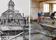 Aufrichtefest nach der Fertigstellung des Rohbaus im Jahr 1912 sowie Bauarbeiter während der grossen Umbauarbeiten im Hotel Anker. (Bilder: Carl Griot und Gabriel Ammon / Aura)