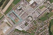 Auf dem Rockwell-Areal in Dierikon soll der zukünftige Bebauungsplan Gewerbe- und Dienstleistungsnutzung und 300 Wohnungen vorsehen. (Bild: Geoportal Luzern / Screenshot)