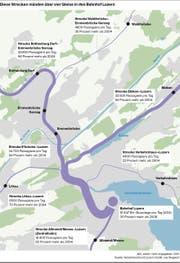 Visualisierung aller Zugstrecken, die in den Luzerner Bahnhof münden. (Bild: VBL / Grafik: Lea Siegwart)