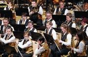 Die Baarer Musikerinnen und Musiker erfüllen den Gemeindesaal mit Leben. (Bild: Werner Schelbert (12. Mai 2017))