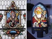 Bewusst wich Bruno von Ah von der traditionellen Iffele-Bauweise ab, um den hl. Nikolaus im Kapellenfenster originalgetreu auf die Iffele übertragen zu können. Bis kurz vor Weihnachten ist das Exemplar in der Hünenberger Kapelle aufgestellt. (Bild: Werner Schelbert (24. November 2016))