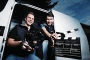 Jan Baumgartner (links) und Yves Bischofberger sind die beiden Köpfe hinter dem Start-up-Unternehmen Soundtrax GmbH. (Bild: Stefan Kaiser (Baar, 20. Februar 2017))