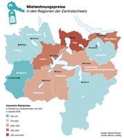 Die Mietwohnpreise in der Zentralschweiz. (Bild: Wüest Partner/Martin Ludwig)