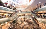 Visualisierung der geplanten Mall of Switzerland in Ebikon. (Bild: PD)
