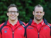 Erhalten einen Kranz: Martin Suppiger (Willisau, links) und Ivo Laimbacher (Brunnen). (Bild: Corinne Glanzmann / Neue LZ)