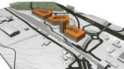 Rund um den Bahnhof Rothenburg sind drei Gebäudekomplexe geplant. Es gilt eine Mindesthöhe von 15 Metern und eine Maximalhöhe von 25 Metern. (Bild: PD)