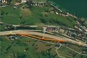 Diese Aus- oder Auffahrt der Autobahn in Buochs werden von der Sperrung betroffen sien. (Bild: Screenshot Google Maps/Bearbeitung luzernerzeitung.ch)