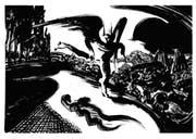 Fabelwesen in finsteren Gefilden: Tuschzeichnung aus der Serie «Oltremai» von Lorenzo Mattotti. (Bild: PD)