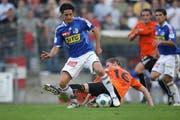 Doppeltorschütze Nelson Ferreira, hier im Cupspiel gegen Bellinzona im September 2009. (Bild Philipp Schmidli/Neue LZ)