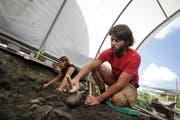Archäologen bei der Ausgrabung im Alpenblick in Cham. (Bild Stefan Kaiser/Neue ZZ)